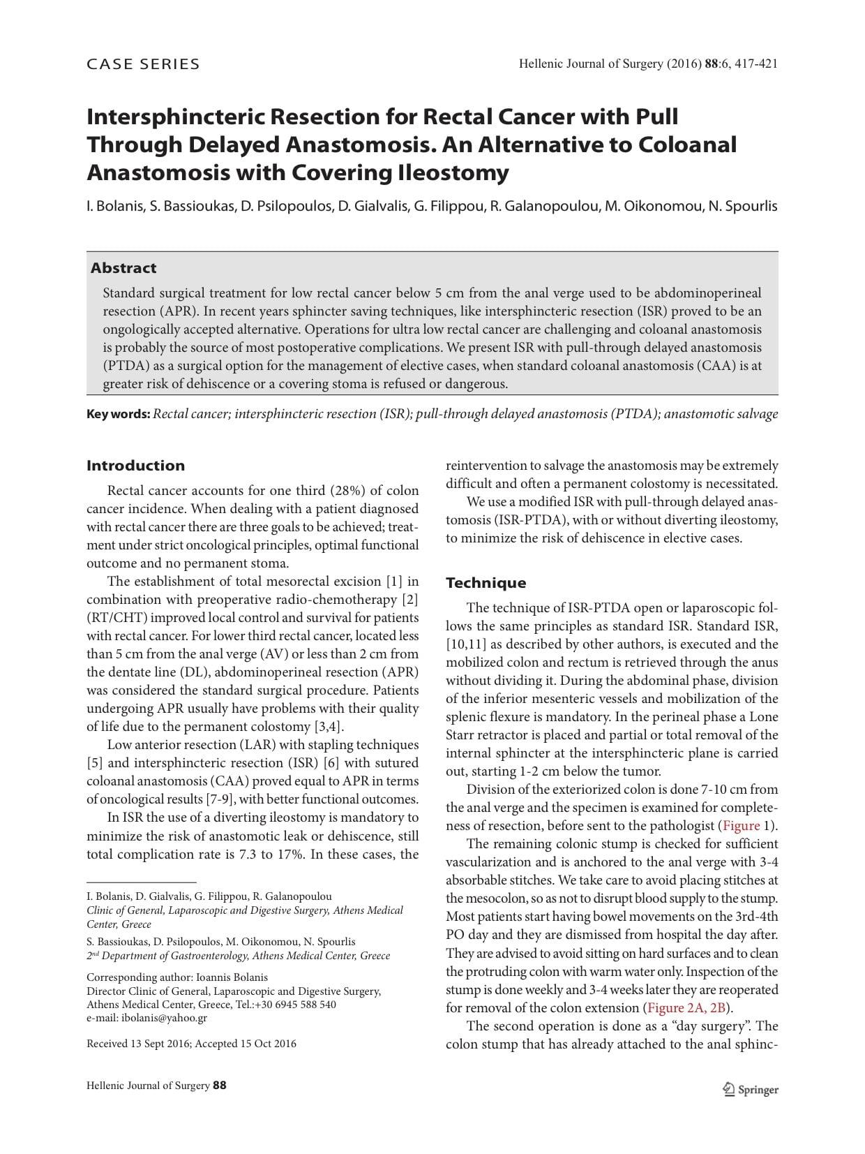 Νέα μέθοδος στον καρκίνο του ορθού - Ι. Μπολάνης χειρουργός εντέρου fdcadf2bc39